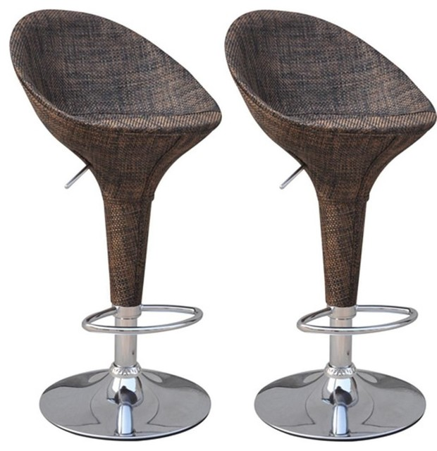 Brilliant Homcom Modern Rattan Wicker Adjustable Swivel Home Pub Bar Stool Set Of 2 Machost Co Dining Chair Design Ideas Machostcouk