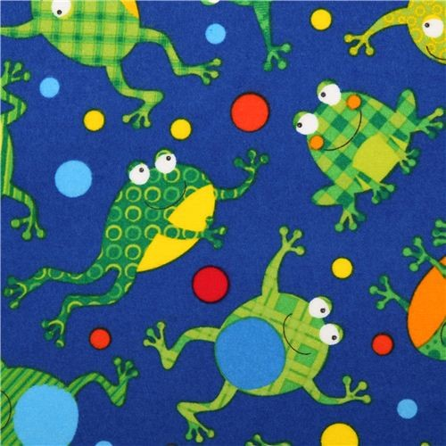 blue frog animal flannel fabric Timeless Treasures