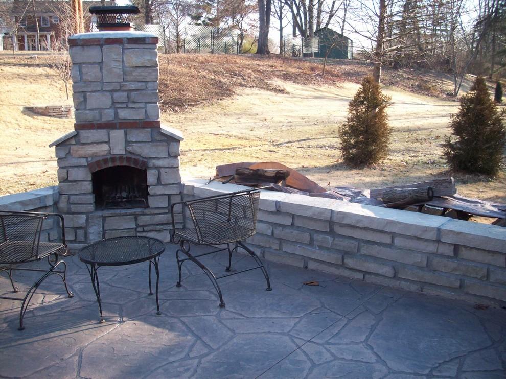 Warson Woods, Missouri Limestone/Brick Masonry Wood Burning Fireplace