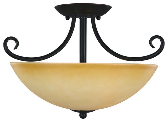 Essex Bronze Interior Lighting Collection, Semi-Flush Mount Ceiling Light.