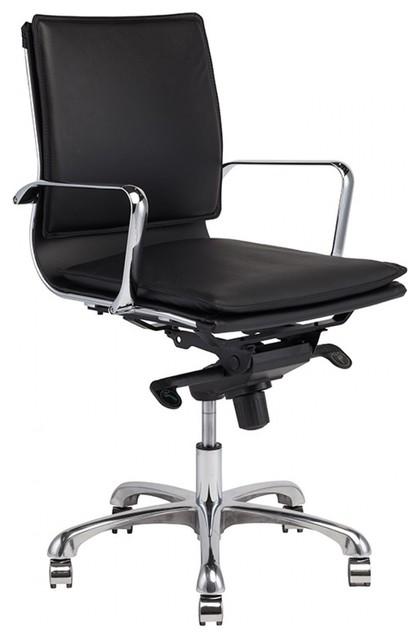 40 8 Tall Adjustable Full Swivel Office Chair Leather Chrome Aluminium Base