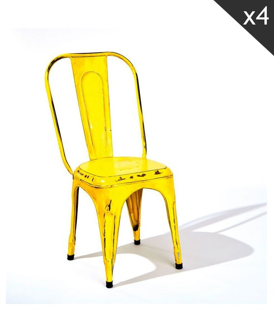 Lot de 4 chaises industrielles bangalore couleur jaune for Chaise de salle a manger jaune