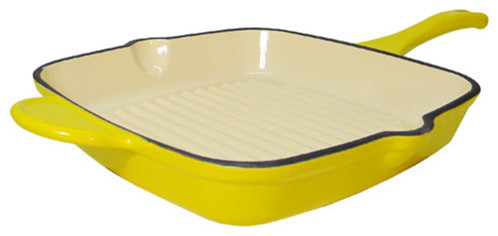 Le Chef Enamel Cast Iron Square Grill Pan, Lemon Yellow.