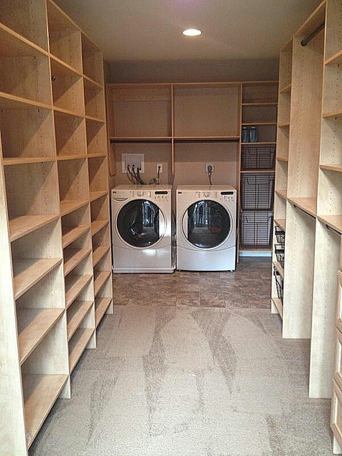 Delightful Master Closet With Laundry Room Transitional Laundry Room