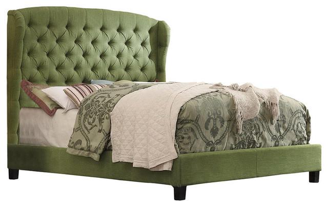 Felisa Upholstered Panel Bed, Natural Olive Green, Queen