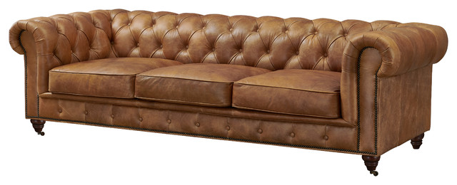 Crafters and Weavers Top Grain Leather Chesterfield Sofa, Light Brown
