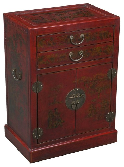 Handmade Oriental Antique Style Wine Cabinet Red