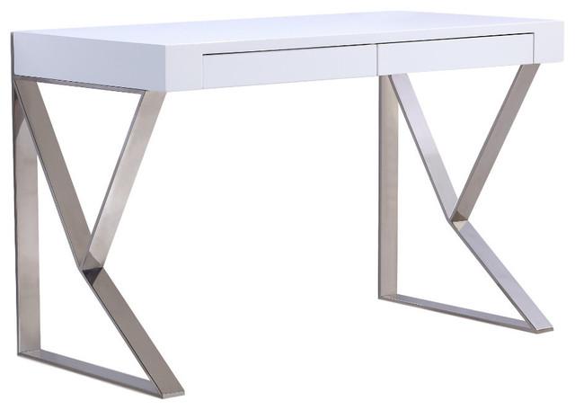 York Office Desk, High Gloss White Lacquer.