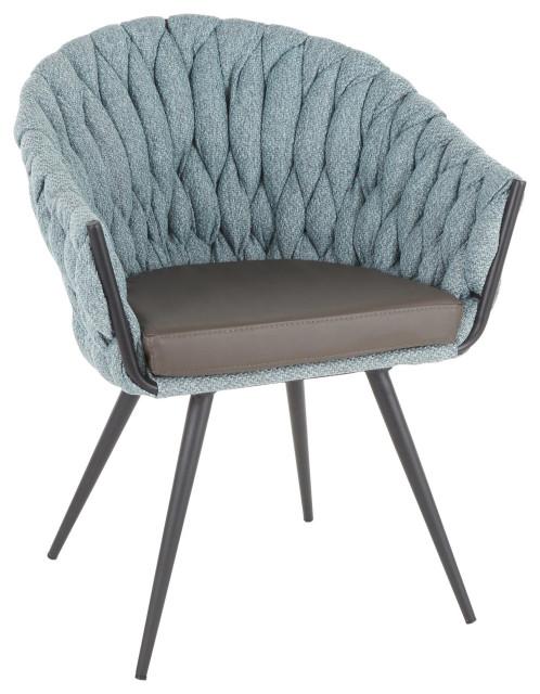 Braided Matisse Chair, Black Metal, Grey PU, Blue Fabric