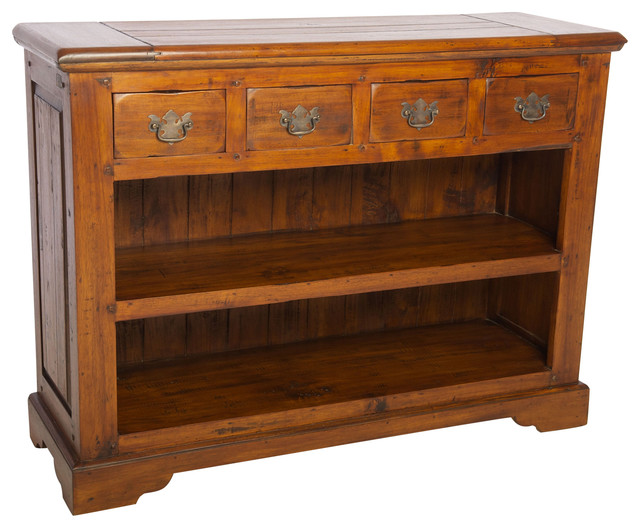 East Indies Open Bookcase With Drawers.