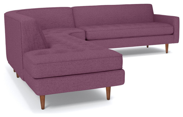 Monroe 3-Piece Sectional Sofa, Amethyst, Chaise on Left