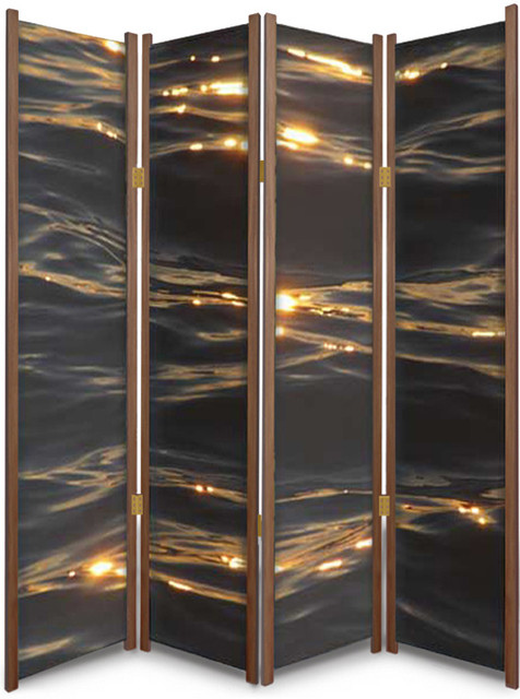 folding room dividers on tracks wheels sunset the waves nature theme partition cedar contemporary screens amazon