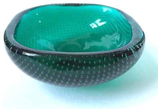 vintage emerald green bubble glass bowl midcentury decorative bowls - Decorative Glass Bowls