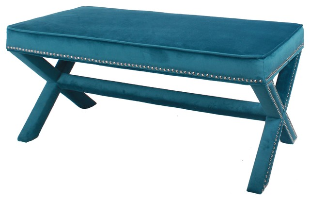 Marguerite Nailhead Velvet Bench Traditional