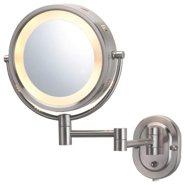 """Jerdon Hl65n 8"""" Two-Sided Swivel Halo Light Wall Mount Mirror, 5x Magnification."""