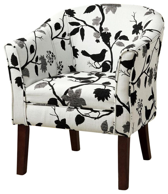 Coaster Accent Chair in Bird and Branch Pattern  transitional-armchairs-and-accent-