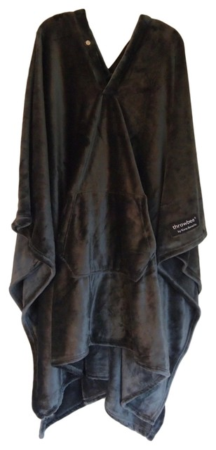 Throwbee Blanket Poncho, Wearable Throw, Gray.