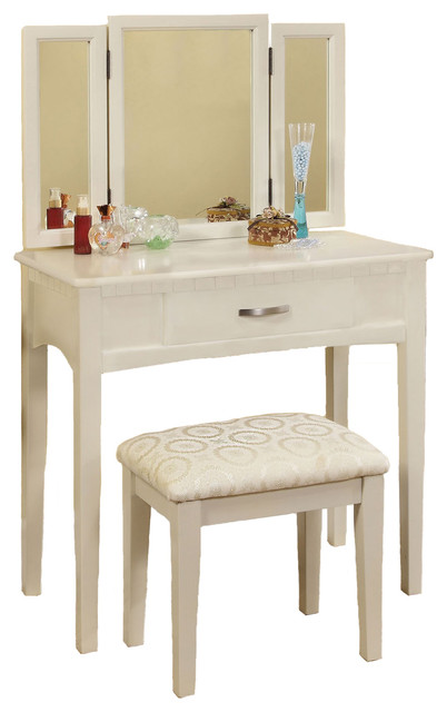 Tri Folding Mirror Vanity Make Up Table Upholstered Stool 3 Piece Set View In Your Room