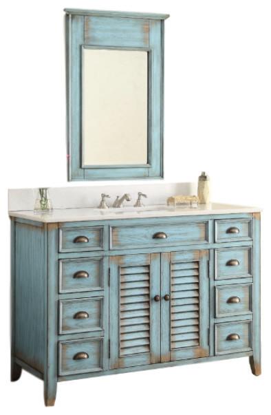 46 Abbeville Bathroom Sink Vanity And Mirror Set Beach Style Vanities