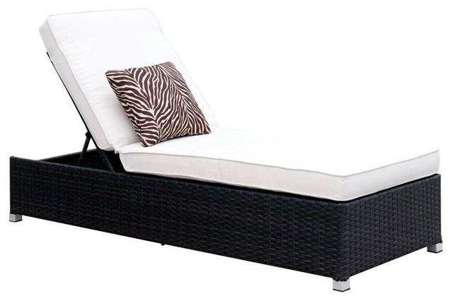 Furniture Of America Walker Adjule Patio Chaise Lounge In White