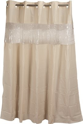 Hookless Shower Curtain With Clear Window Beige