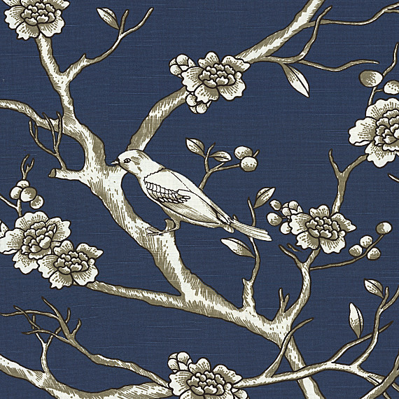 Blue Modern Chinoiserie Cotton Fabric