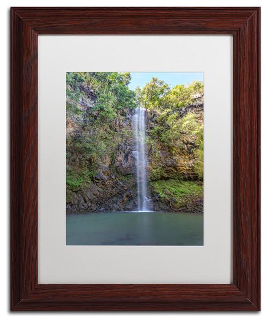 Pierre Leclerc 'Secret Falls' Matted Framed Art, Wood Frame, White, 14x11 by Trademark Fine Art