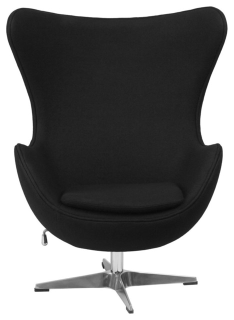 Modern Black Wool Fabric Upholstered Egg Shaped Arm Chair Armchairs And Acc
