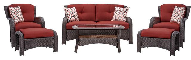 Strathmere 6-Piece Lounge Set, Crimson Red.