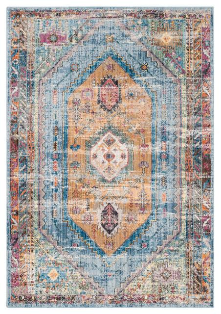 """Safavieh Bristol Collection BTL346 Rug, Blue/Camel, 5'1""""x7'6"""""""