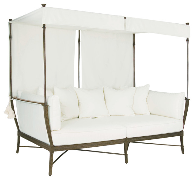 Jane Modern French White Canopy Metal Outdoor Daybed Traditional Futons