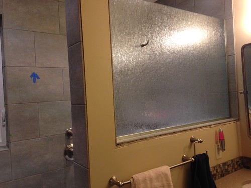 Help with half wall in shower topped by glass for Half wall shower glass