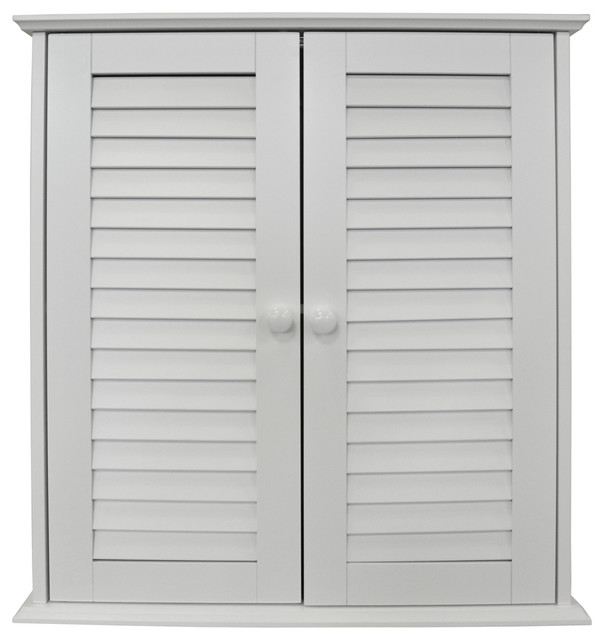 Louvre Double Shutter Door Bathroom Wall Storage Cabinet, White