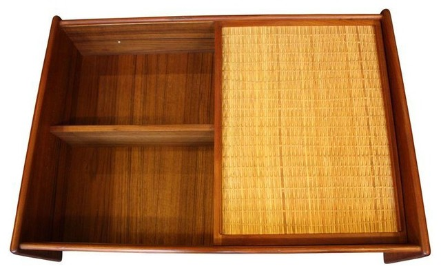 Danish Modern Wall Mounted Teak and Cane Cabinet - Contemporary ...