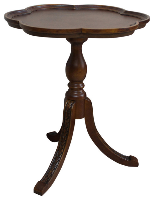 Carved Scalloped Round Table,Brown Stain