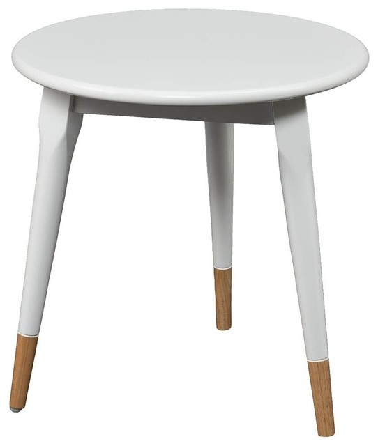 Alden Round Side Table Glossy White Finish Midcentury