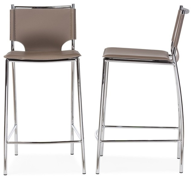 Modern Leather Bar Stools Part - 32: Montclare Leather Counter Stools, Set Of 2, Taupe Contemporary-bar-stools-
