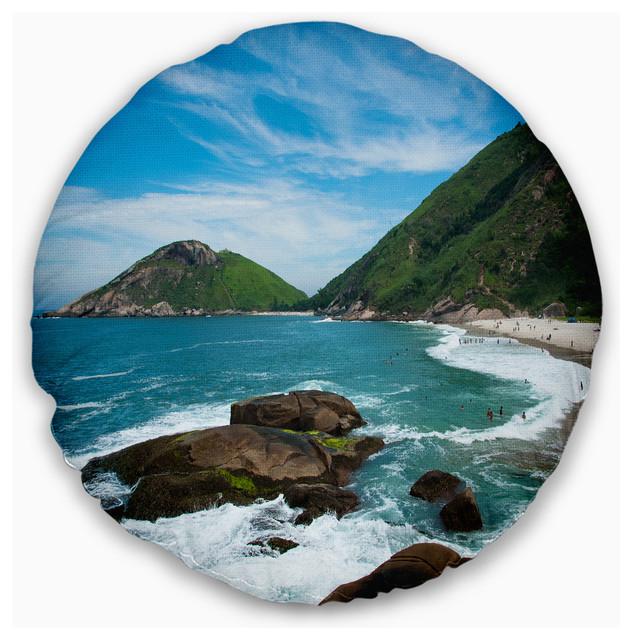 """Praia do Meio Beach Seashore Photography Throw Pillow, 16"""" Round"""