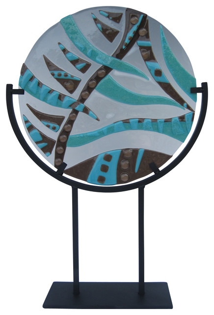 """""""Wave Of Design"""" Handcrafted Fused Glass Art Deco Sculpture With Stand"""