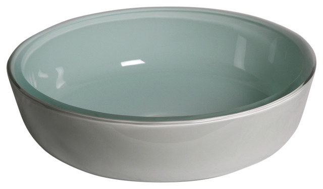 Frosted Round Tempered Glass Vessel Sink.
