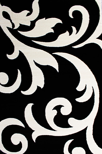 Super Area Rugs Metro Collection Floral Scroll Rug Black