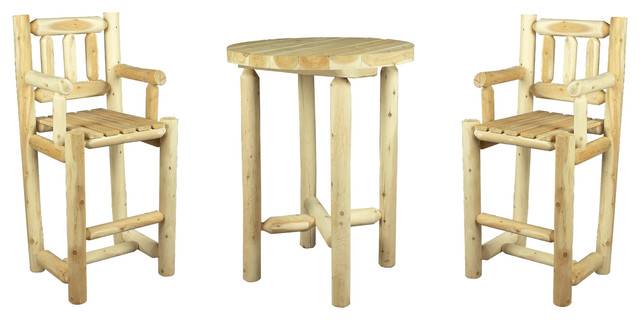 Wooden High Bar Table And Chairs, 3 Piece Set   Rustic   Outdoor Dining  Sets   By Cèdre U0026 Rondins