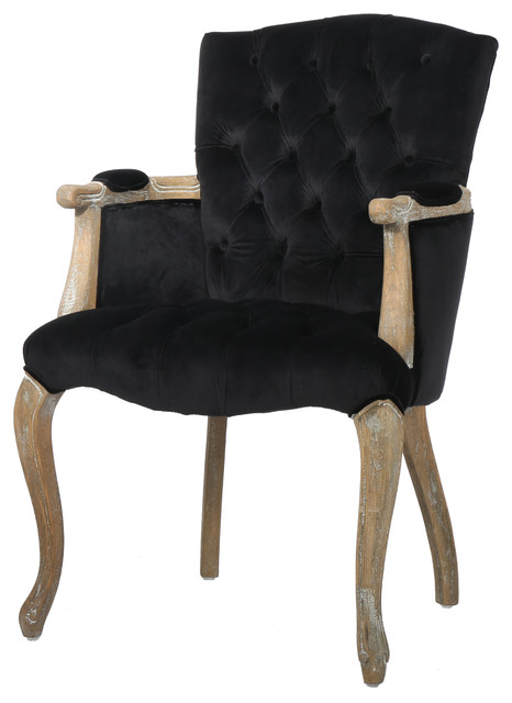 Amherst Black Velvet Arm Dining Chair.