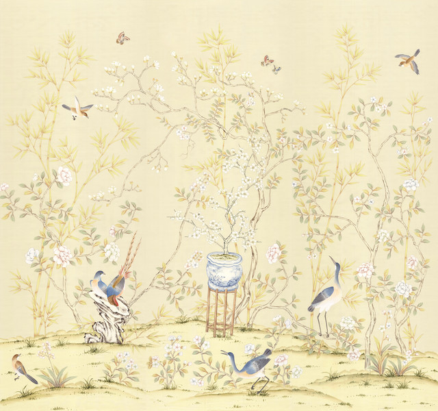 Chinoiserie wall mural chai wan triptych asian for Asian mural wallpaper