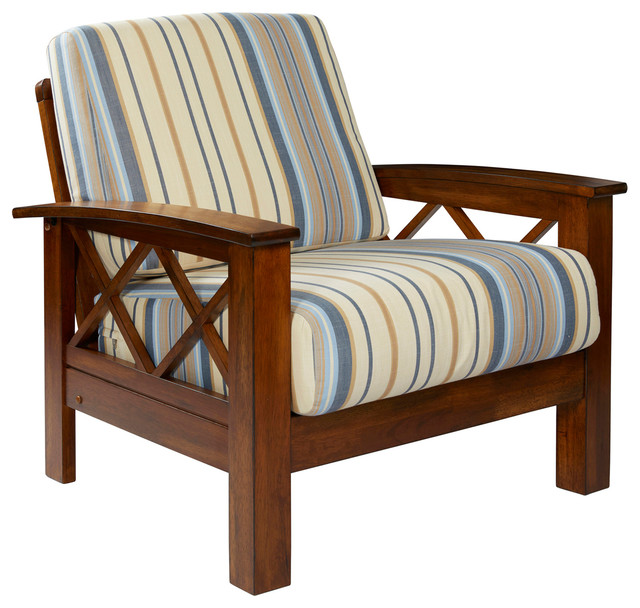Riverwood X Design Arm Chair With Exposed Wood Frame Blue