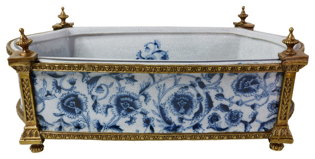 Blue And White Porcelain Floral Chinoiserie Rectangular