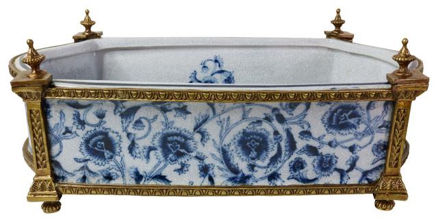 Blue And White Porcelain Floral Chinoiserie Rectangular Basin Ormolu
