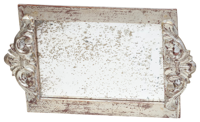 Antiqued Mirror Vanity Tray, Silver.