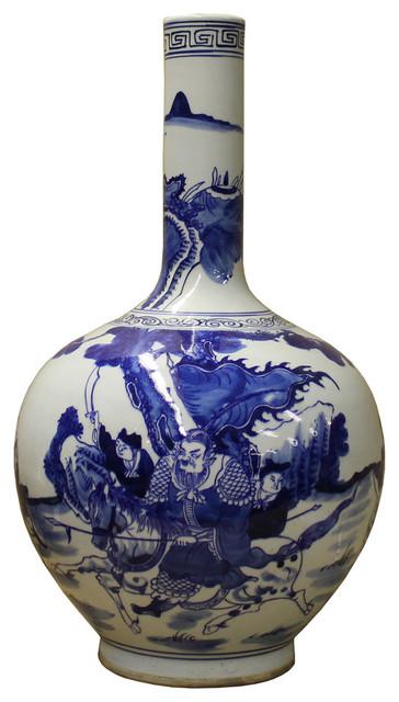 Chinese Blue White Porcelain Warfield Graphic Long Neck Vase Cs2468