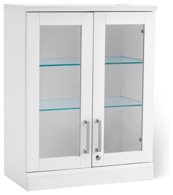 "NewAge Home Bar 35"" Wall Curio Cabinet, White - Wine And Bar Cabinets - by Homesquare"